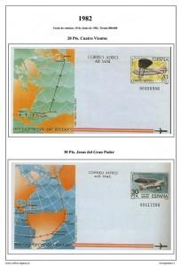 Página del álbum de Aerogramas españoles 1981-1999